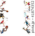 Sport collage about kickboxing, soccer, american football, basketball, ice hockey, badminton 41874352