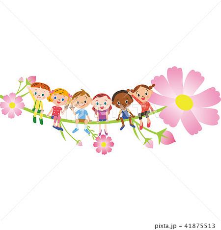 秋桜に座る子供 41875513