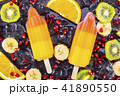 Fruit ice cream on stick with slices fruits 41890550