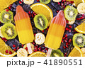 Fruit ice cream on stick with slices fruits 41890551