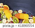 Fruit ice cream on stick with slices fruits 41890554
