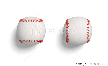 3d rendering of two white baseball lying on a white background with horizontal and vertical red 41891520