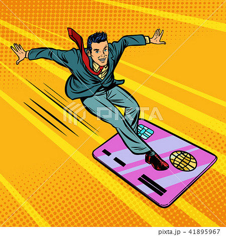 businessman and credit card. snowboarding or surfing 41895967