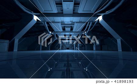 Abstract Blue Sci Fi Futuristic Interior Design Corridor.3D Rendering. 41898193