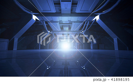 Abstract Blue Sci Fi Futuristic Interior Design Corridor.3D Rendering. 41898195