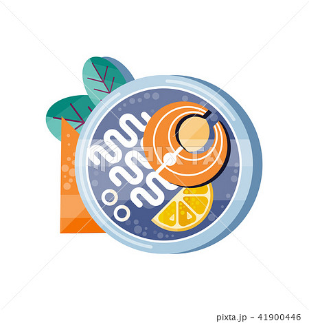 Salmon and noodles on a plate, traditional Japanese cuisine vector Illustration on a white 41900446
