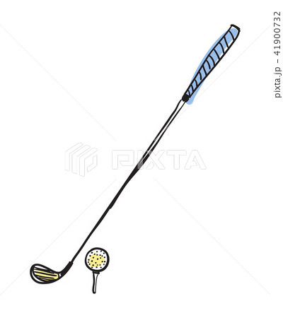 Golf club and ball hand drawn isolated icon 41900732