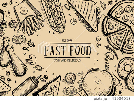 Fast food retro advertising background 41904013