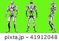Robot android is defeated. Realistic looped motion on green screen background. 3D Rendering. 41912048