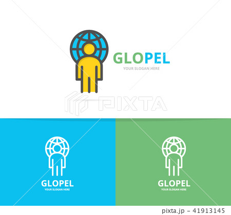 simple man with the planet logo design template symbol and sign