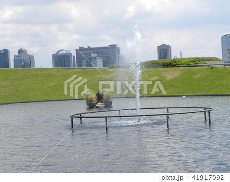 習志野市サクラ広場のカルガモ池の巣箱と噴水 41917092