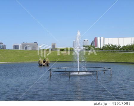 習志野市サクラ広場のカルガモ池の巣箱と噴水 41917095