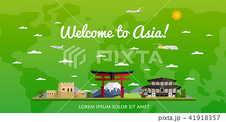 Welcome to Asia poster with famous attractions 41918357