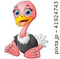 Funny cartoon ostrich sitting 41924743