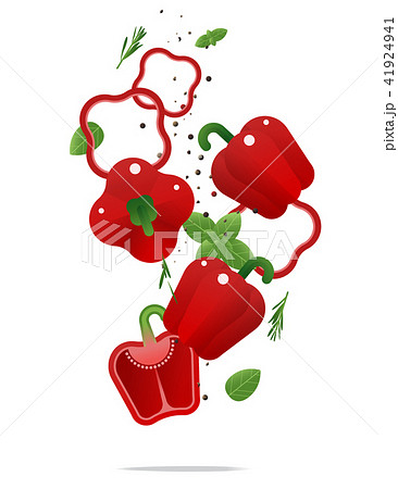 Flying fresh red bell peppers and spices concept 41924941