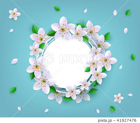 Floral badge with spring white apple or cherry blossoms and green leaves around with empty label. 41927476