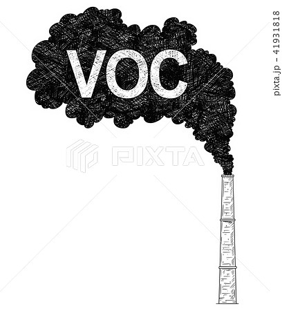 Vector Artistic Drawing Illustration of Smokestack, Industry or Factory Air VOC Pollution 41931818