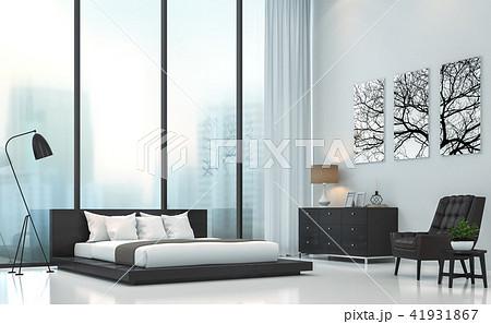 Modern white bedroom 3D render 41931867