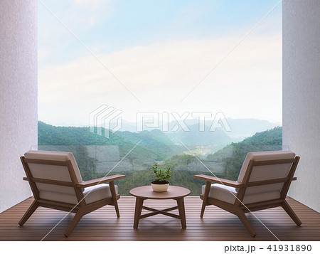 Room terrace with mountain view 3d render 41931890