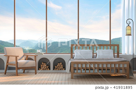 Modern bedroom with mountain view 3d render 41931895