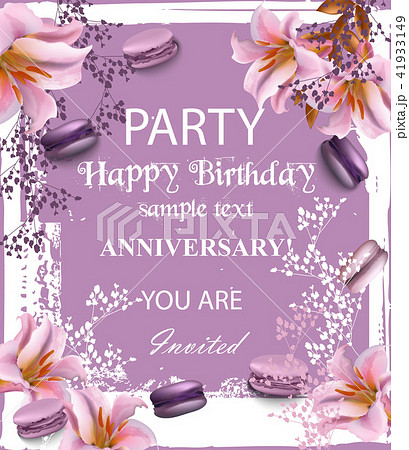 birthday party invitation vector flowersのイラスト素材 41933149