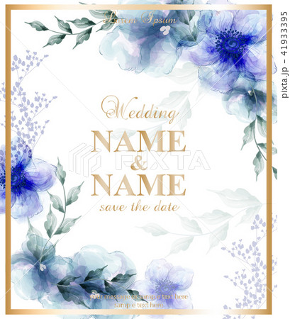 wedding card with watercolor blue flowers vectorのイラスト素材