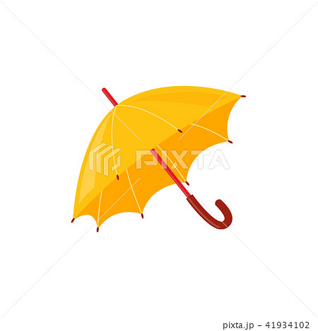 Yellow rainy umbrella isolated on white background - autumn or spring accessory for seasonal design. 41934102