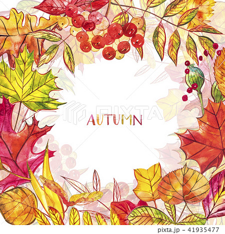 autumn background with golden and red leaves with berries