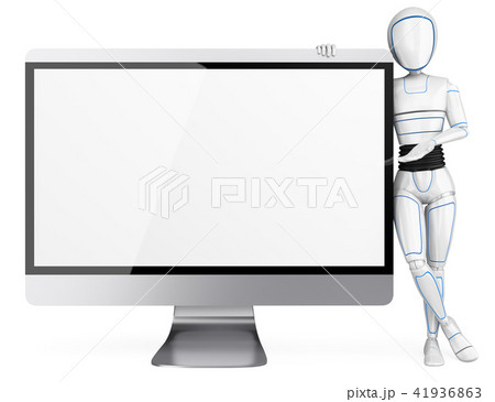 3D Humanoid robot leaning on a big blank screen 41936863