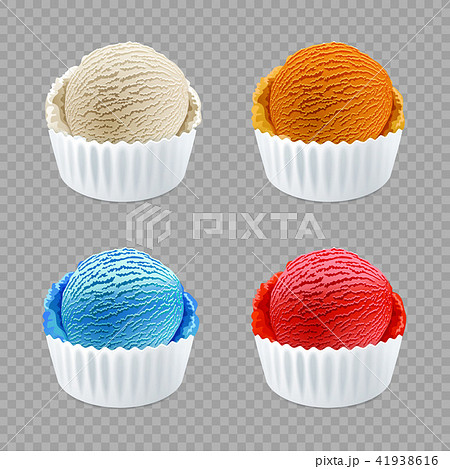 different flavor ice cream scoops side view vector 41938616