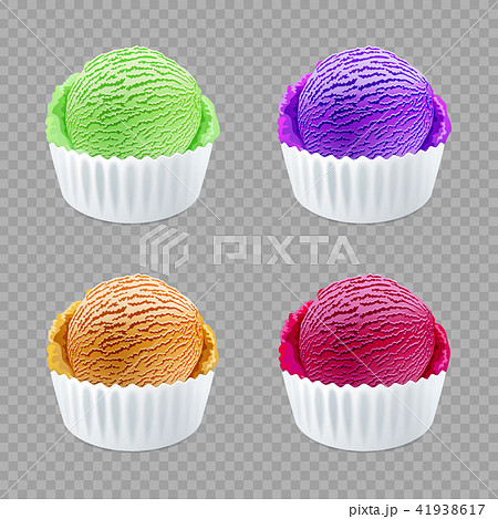 different flavor ice cream scoops side vector 41938617