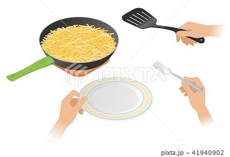 The frying pan with french fried crispy potato 41940902