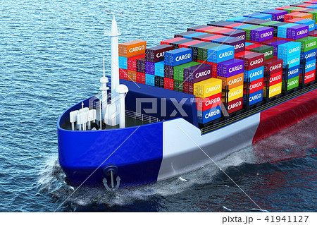 French freighter ship with cargo containers 41941127