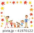 家族 紅葉 フレームのイラスト 41970122