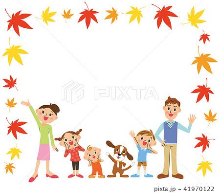 家族と紅葉フレーム 41970122