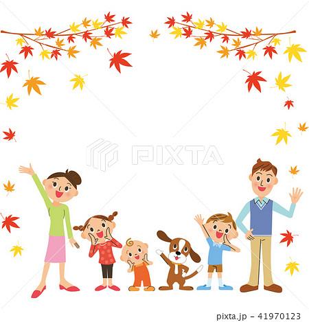 家族と紅葉フレーム 41970123