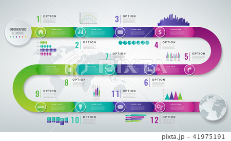 abstract 3d infographic template with 12 options business