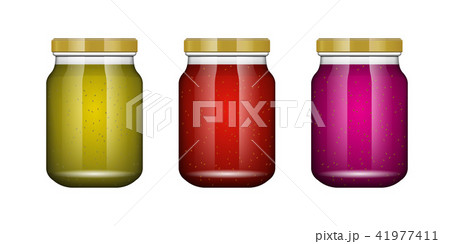 Jam kiwi. Glass jar with jam and configure. Vector illustration. Packaging collection. Label for jam 41977411