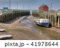 Scene at Halls Harbour, Nova Scotia boat low tide 41978644