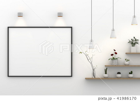 frame mockup lamp and plants. 3D rendering. 41986170