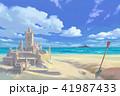 海 城 砂浜のイラスト 41987433