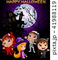 Happy Halloween purple background with children 41988119