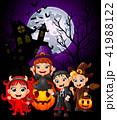 Happy Halloween purple background with children 41988122