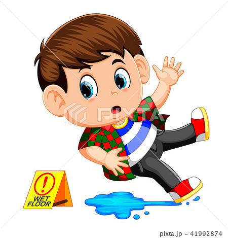 boy slipping on wet floor 41992874