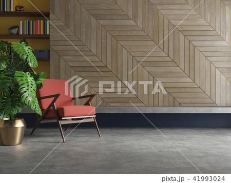 Empty living room modern interior with armchair, plant, concrete floor, wood. 41993024