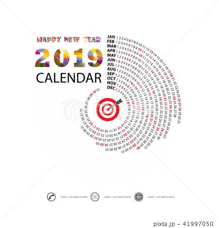 2019 calendar template spiral calendar のイラスト素材 41997050 pixta