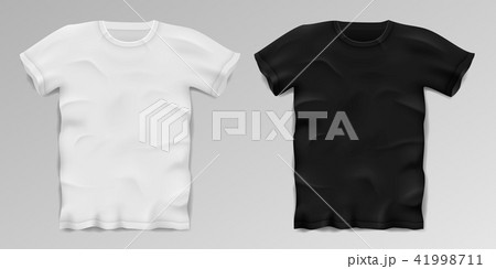 black and white realistic male t shirt blank sports t shirt