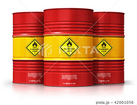 Group of red oil drums isolated white background 42001056