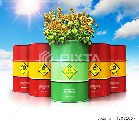 Biofuel drum sunflowers in front of red oil or gas 42001057