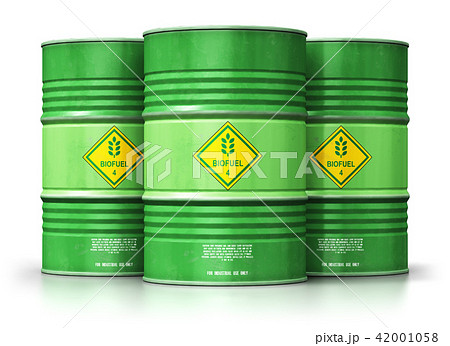 Green biofuel drums isolated on white background 42001058